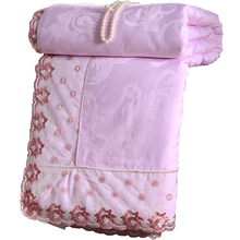 Pink color mulberry silk comforter bedspreads Quilted blanket summer&winter king queen full twin size duvet bedclothes set