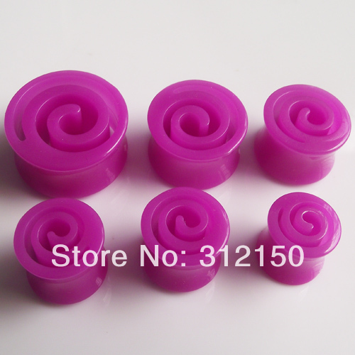 SaYao 96pcs Wholesale 6 sizes candy Color Acrylic whirl Ear Plug Flesh Tunnel UV Body piercing jewelry