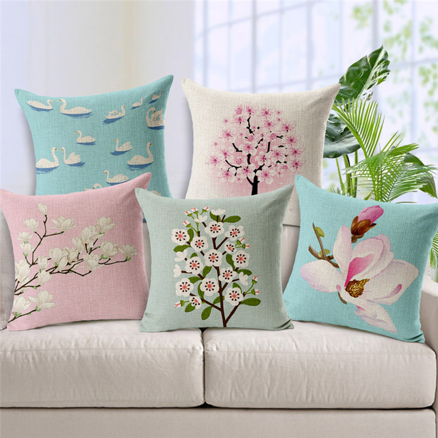 Pillow Covers For Living Room Small Open Kitchen Dining Design Lovely Swan Cushion Cover Chinese Style Pillowcase Cherry Blossom Linen Home Decorative Europen Pillows