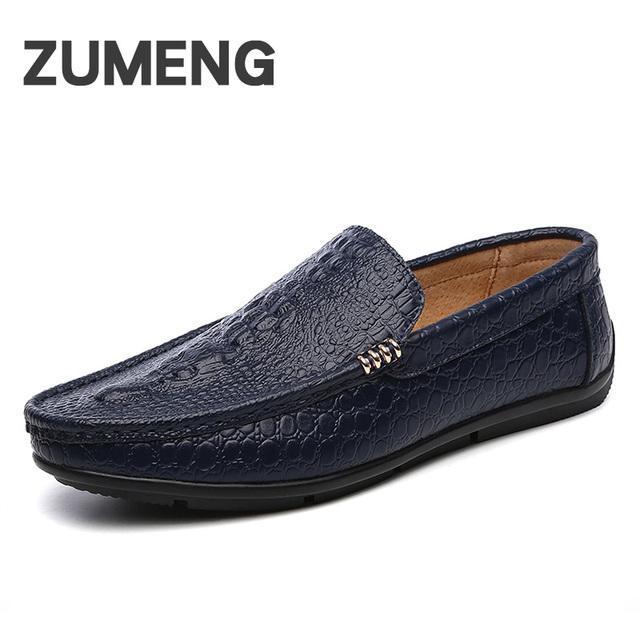 Nueva Primavera de Los Hombres ocasionales genuinos mocasines de cuero para hombre cómodo suela plana conducción segura moda perezoso zapatos ventas sociales zapato