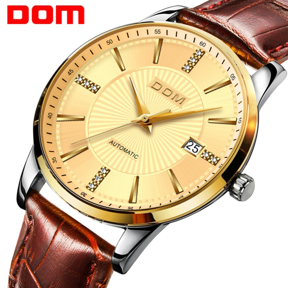 DOM Ultra-thin Simple Classic Men Mechanical Watches Business Waterproof Watch Luxury Brand Genuine Leather Automatic Watch M-79DOM Ultra-thin Simple Classic Men Mechanical Watches Business Waterproof Watch Luxury Brand Genuine Leather Automatic Watch M-79