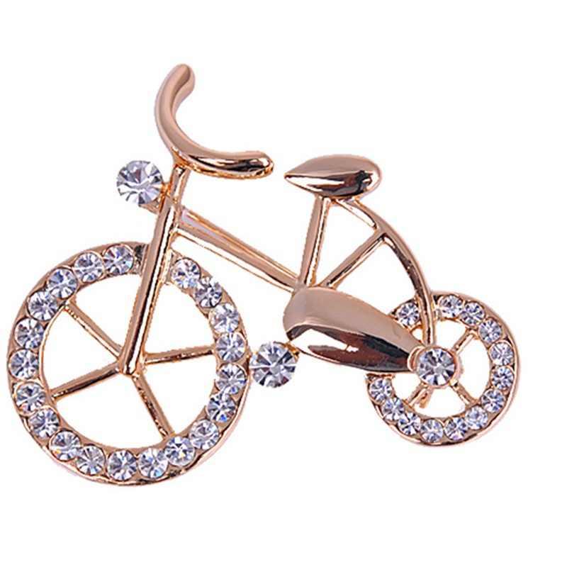 1PCS Eleganza Oro di Strass Forma Bicicletta Uomo Donna Unisex Scintillio Spilla Spilli Regalo Dei Monili
