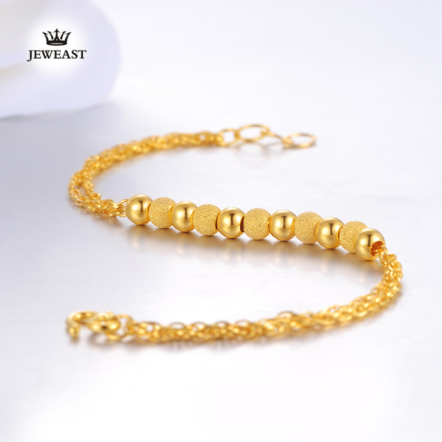 2017 New 24k Pure Gold Bracelet Real Bangle Fine Jewelry Wedding Engagement Gifts Woman Beads