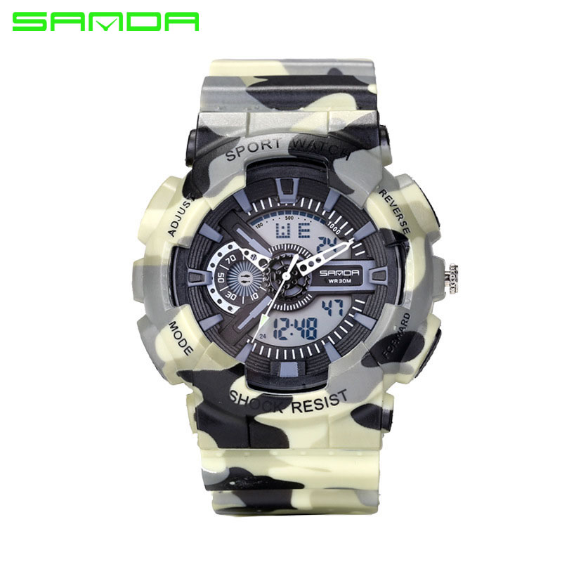 2017 Fashion Sport SANDA Watch Men Dive Military Clock For Mens Watches Top Brand Luxury Camouflage Geneva relogio masculino 799
