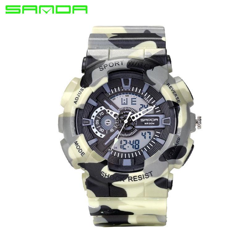 Prix pour 2017 SANDA Hommes Montre Hommes Mode Quartz-montre Militaire de Sport Camouflage Numérique Montre LED Analogique Horloge Hommes Montres hombre