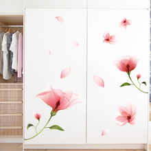[shijuekongjian] Pink Color Flowers Wall Stickers DIY Plant Decals for Dormitory Living Room Kids Bedroom Decoration