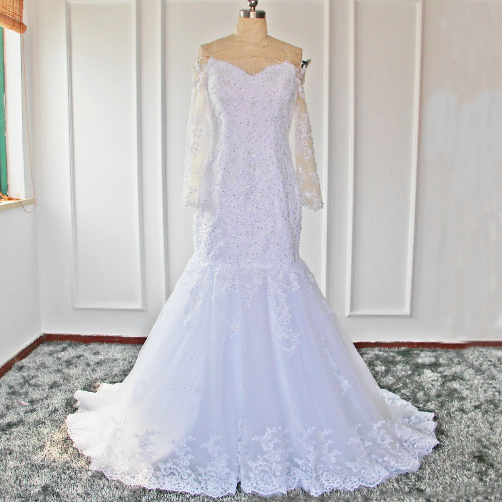Alexzendra Mermaid White Wedding Dresses with Long Sleeves Beads Applique Sweetheart Wedding Dresses Plus Size Customize