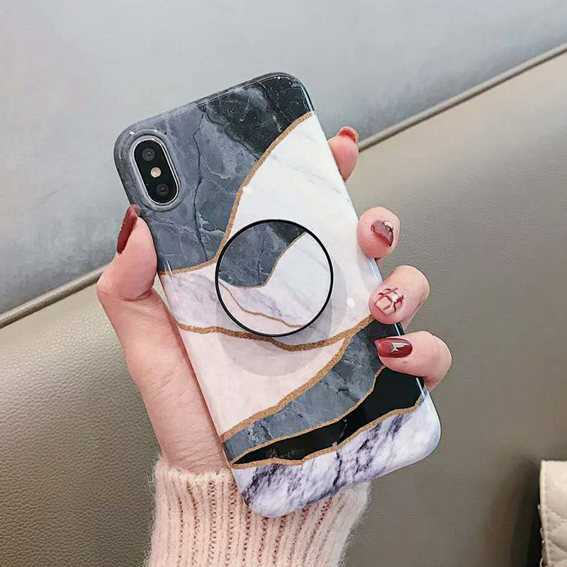 Geometric Marble Pattern Kickstand Phone Case For iPhone XS Max XR X 6 6S 7 8 Plus Fashion IMD Soft Protective Back Cover Coque (5)