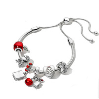 NEW 100% 925 Sterling Silver Christmas Fairy Tales Charm Apple Bird Book Bracelet Set Original Fashion Jewelry Gift Adjustable