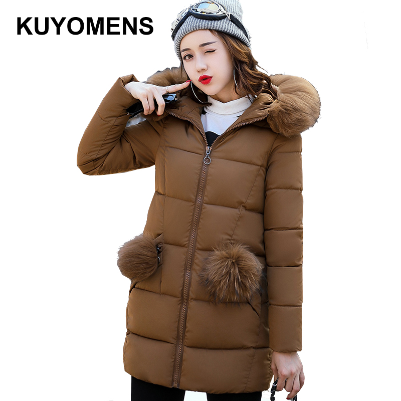 KUYOMENS New 2017 Winter Warm Down Cotton Jacket Women Faux fur collar Thick Slim Hooded Plus Size Long Down Jacket Coat plus size winter jacket new style women down cotton overcoat thick warm coat elegant slim hooded fur collar jacket female ok280