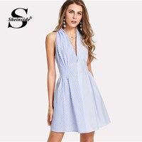 Sheinside Blue Deep V Neck Sleeveless Mix Striped A Line Dress High Waist Zipper Back Dress