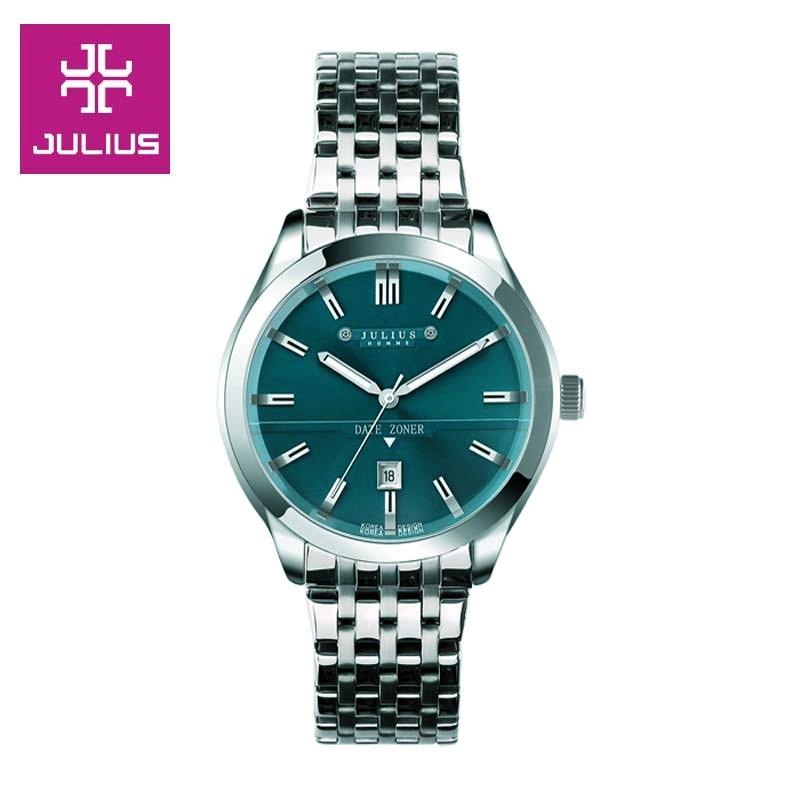 ФОТО Top Julius Men's Homme Wrist Watch Fashion Hours Dress Bracelet Date Stainless Steel Business School Boy Birthday Gift 086