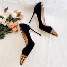Free shipping fashion women Pumps Black studded spikes Pointy toe high heels pearls shoes bride wedding shoes 12cm 10cm 8cm цены онлайн