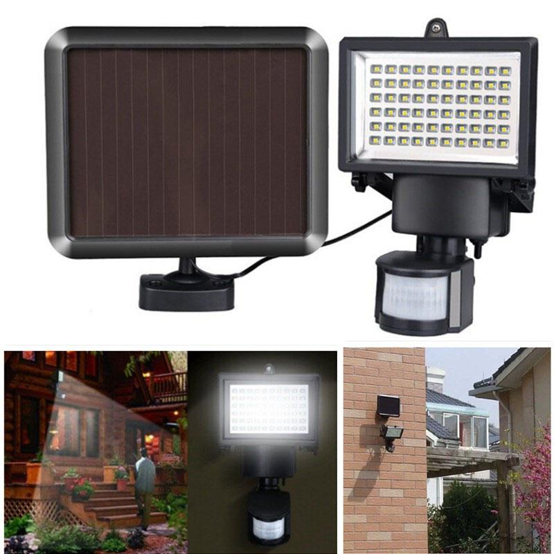 LumiParty 60 LED Waterproof Solar Lamp Outdoor Solar-Powered Garden Lamp with Light Sensor & Human Body Induction Flood Lamp youoklight 0 5w 3 led white light mini waterproof solar powered fence garden lamp black