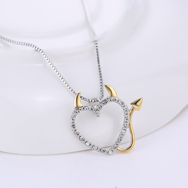 Devil Love Heart Necklace Pendant - Gold and Silver Plated 3