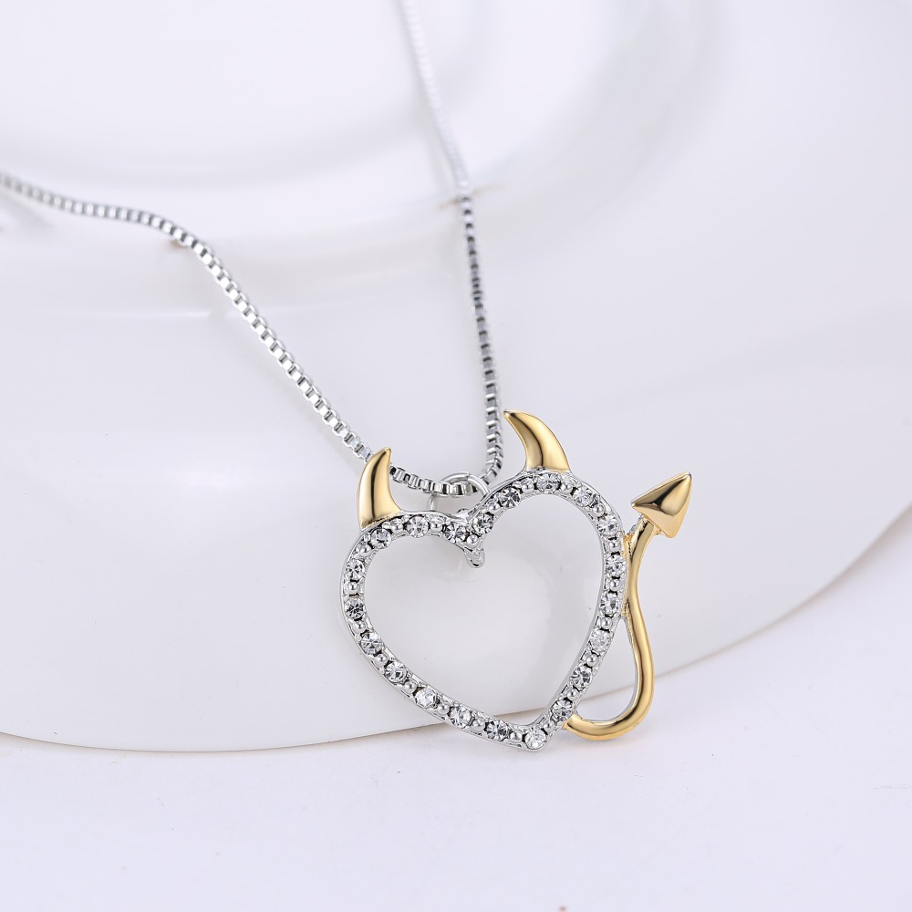 Hot gold and silver plated love heart accent devil heart pendant hot gold and silver plated love heart accent devil heart pendant necklaces jewelry for women summer decoration with box chains in pendant necklaces from mozeypictures Images