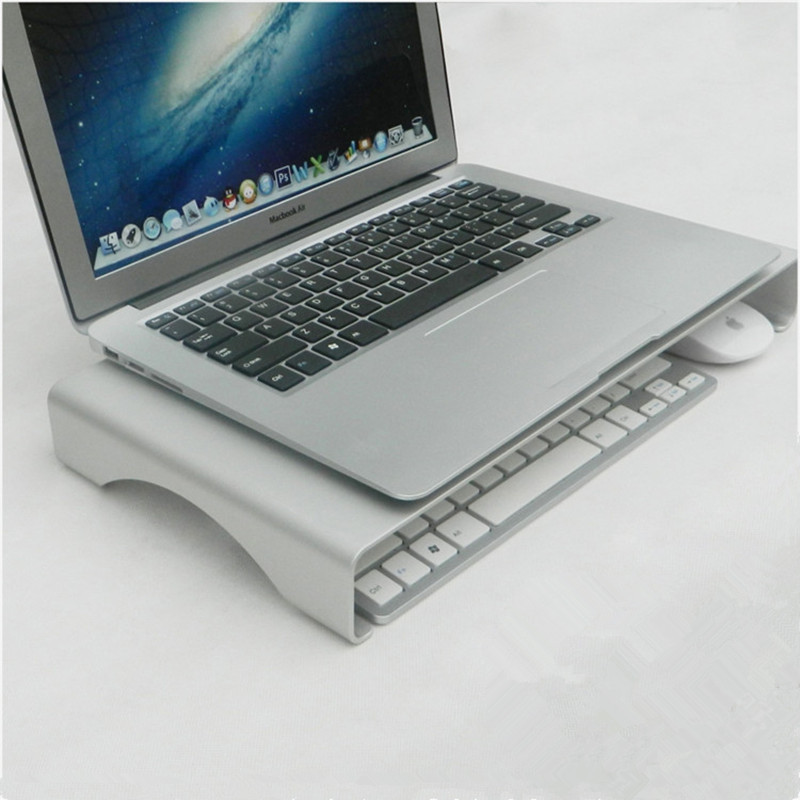 Hmsunrise Laptop Bracket for Apple iMac for Lenovo pc holder Metal Monitor Stand Space Bar Dock Desk Riser Aluminum Alloy ...