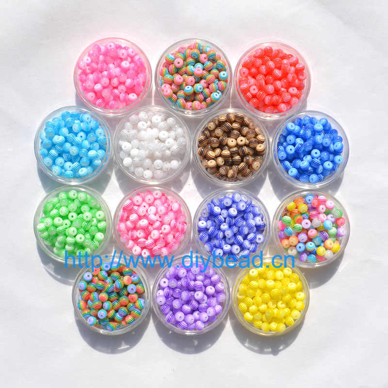 100 pcs DIY Bracelet Accessory Handcraft Department 18 Color 8MM Round Shape Transparent Resin Stripe Beads jewelry Findings