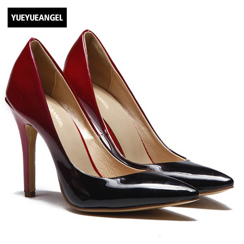 Pointed Toe Genuine Patent Leather OL Shoes For Women 2018 New Pumps Elegant Office Work Formal High Heels Wedding Dress Shoes 2016 new men s fashion genuine leather shoes wedding dress dancing formal office party shoes pointed elastic belt patent brandy