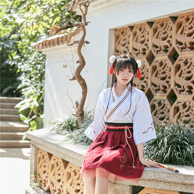 Summer Woman Japanese Traditional Dress Embroidery Ancient Fashion Kimono Girls Japanese Style Clothes Outfits Lace Up Skirt 2