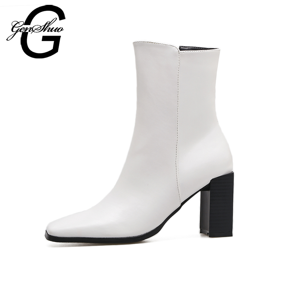 GENSHUO Fur Boots Women High Heels 8CM Mid Calf Boots Square Toe Zipper Shoes Women Warm Winter Boots Black White Size 35-39 double buckle cross straps mid calf boots