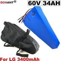 60 V 34Ah Triângulo ebike bateria de iões de lítio para LG 18650 células 10 16 S P 60 V Elétrica bicicleta Carregador de Bateria 1500 W 2500 W com 5A