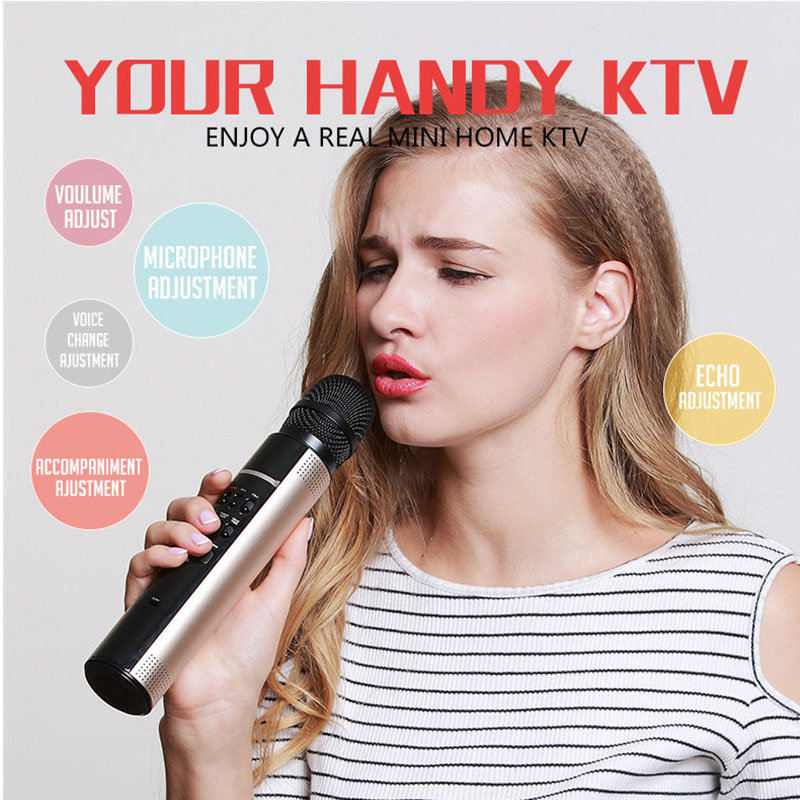 Interpad Wireless Bluetooth Speaker Karaoke Microphone Speaker Professional Portable KTV Player Aluminum Subwoofer For Party KTV стоимость