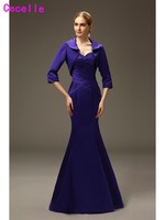Simple Long Mermaid Purple Mother Of the Bride Dresses With Jackets Formal Mother's Wedding Party Dresses Evening Dresses Real