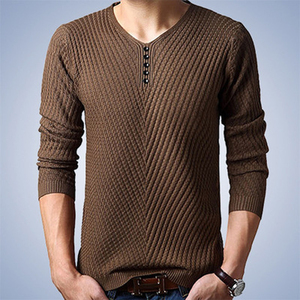 Image 3 - Thoshine Brand Spring Autumn Style Men Knitted Twill Sweater Thin V Neck Buttons Male Casual Pullovers Solid Color Homme Jumpers