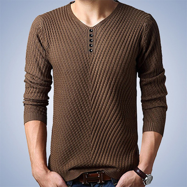 Thoshine Brand Spring Autumn Style Men Knitted Twill Sweater Thin V-Neck Buttons Male Casual Pullovers Solid Color Homme Jumpers