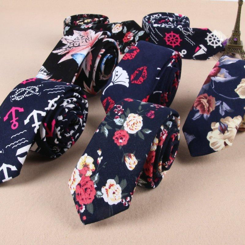 18 Patterns Mens Fashion Floral Slim Ties 5.5cm Cotton Necktie for Men 2018 New Design Skinny Mens Tie Black Navy Narrow Ties