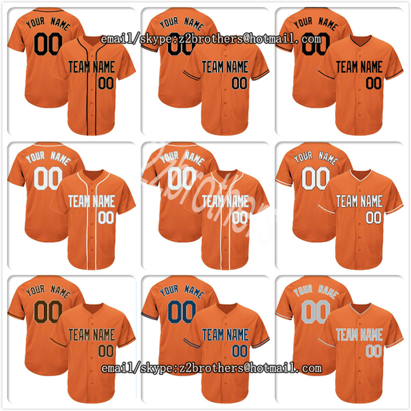 Custom Orange Baseball Jersey for Men Women Youth Replica Embroidered Team Player Name Number Design Your Own Team Log DIY OEM