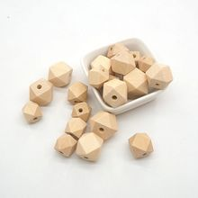 Chenkai 100PCS 20 mm Hexagon Natural Wooden Beads Unfinished Baby Teether Teething Jewelry Necklace