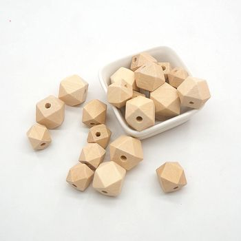 Chenkai 100PCS 20 mm Hexagon Natural Wooden Beads Unfinished Baby Teether Wooden Teething Jewelry Necklace Beads chenkai 100pcs 20mm wooden unfinished beads geometric hexagon beads natural beads for diy baby teether nacklace accessories