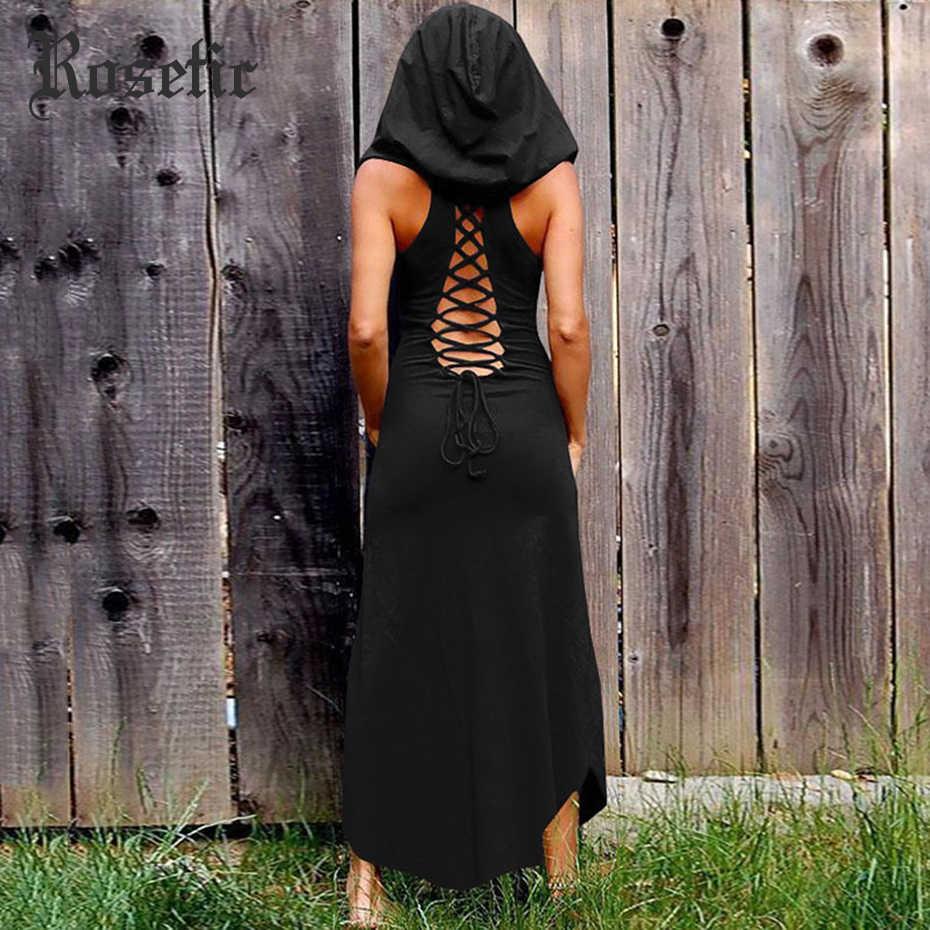 Rosetic женское платье в готическом стиле с капюшоном на повязке, без рукавов, с круглым вырезом, однотонное, с открытой спиной, ажурное, ретро, женские черные платья, сексуальные винтажные