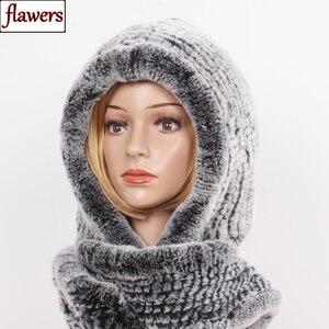 Image 1 - 2020 novas mulheres de inverno real pele chapéu + cachecóis feminino malha natural rex pele de coelho com capuz cachecóis quente malha genuína capas de pele cachecol