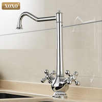 XOXO Kitchen Faucet Cold and Hot Chrome 360 Degree Sink Faucet Swivel Spout Double Cross Handle Deck Mounted Mixer Taps 60001G
