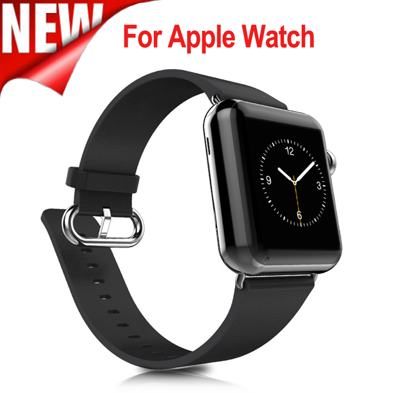 New Classic Buckle Black Color Genuine Leather Strap 38mm 42mm for Apple Watch Series 3 Seriea 2 Series 1 new style double buckle cuff genuine leather strap for apple watch 38mm 42mm with 1 1 original metal adapters fit series 1 and 2