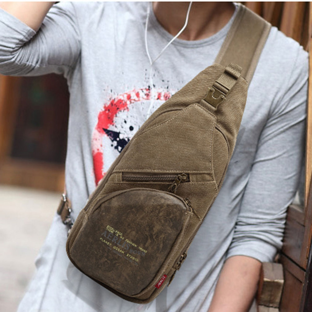Men Canvas With PU Leather Military Travel Riding Cross Body Messenger Shoulder Back Pack Sling Chest Bag men waterproof military cross body sling pack messenger shoulder back chest travel riding bag lby2017