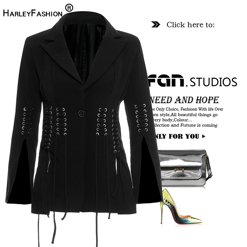 Harleyfashion Slim Blazers Slit Elegant High-Street Women European-Design Black Lace-Up