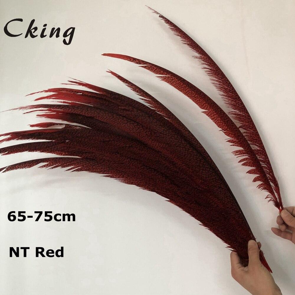 Chaude 100 pièces rouge Naturel plumes de faisan Doré 65-75 cm/25-30 pouces Dame Amherst Faisan queue de faisan plumes carnaval
