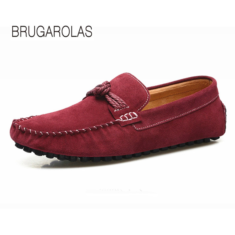 BRUGAROLAS - 2017 New genuine Leather Fashion Summer Spring Men Driving Shoes Loafers Boat Shoes Breathable Male Casual Flats pl us size 38 47 handmade genuine leather mens shoes casual men loafers fashion breathable driving shoes slip on moccasins