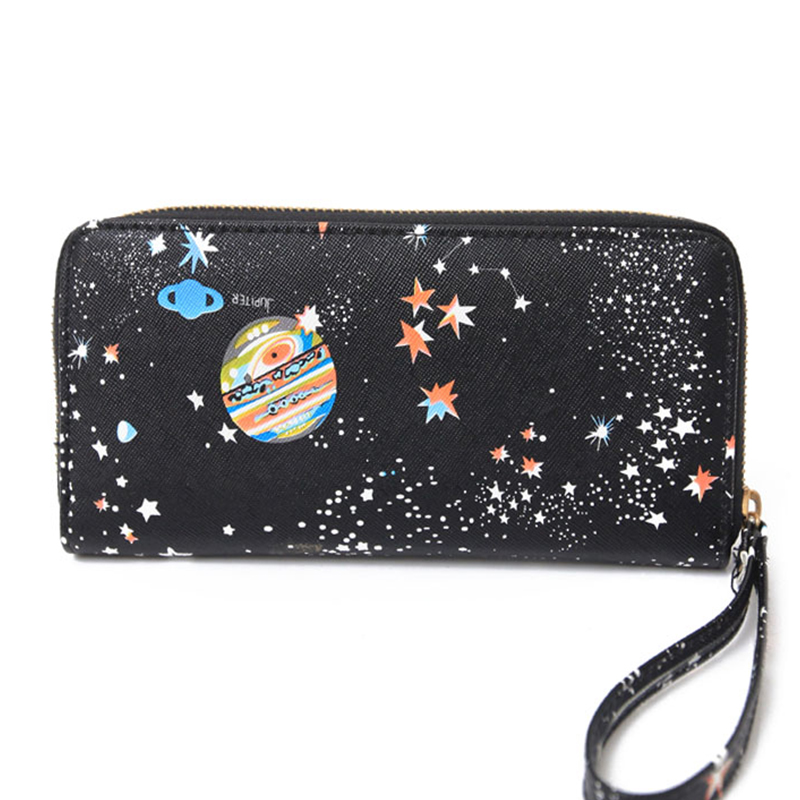 Women Wallet Female Leather Purse Card Holder Long Clutch Space Wristlet Phone Coin Purses Printing Designer Cash Pocket Wallets high quality floral wallet women long design lady hasp clutch wallet genuine leather female card holder wallets coin purse