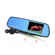 Hot 4.3 pulgadas Full HD 1080 P DVR del coche del espejo frontal doble lente y la cámara trasera para coche espejo retrovisor del coche de la cámara DVR grabador de vídeo