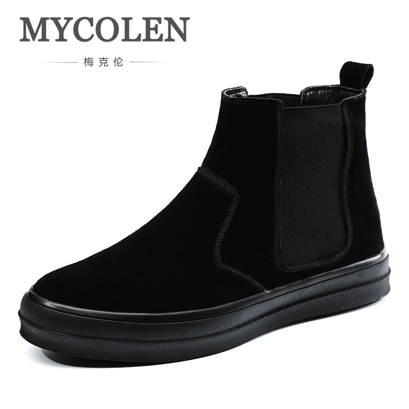 все цены на MYCOLEN New Arrival High Quality Comfortable Fashion Genuine Leather Martin Boots Pointed Toe Slip-On Ankle Boots Men Shoes