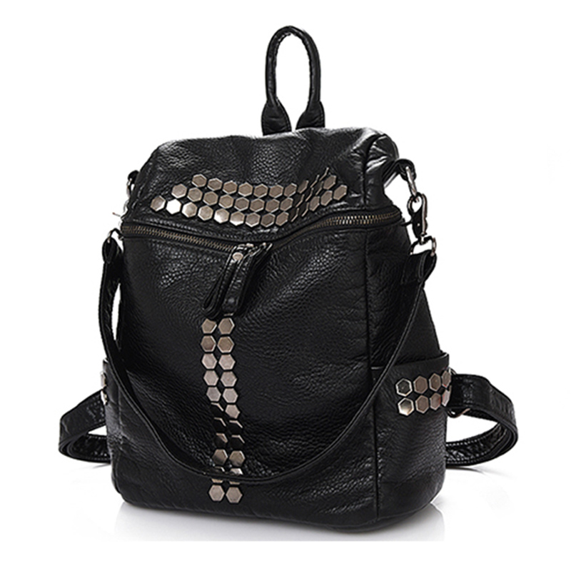 2019 Women Casual Backpack Female PU Leather Rivet Decorated Bag pack bags Girls Travel Bag School Black Grey back Pack Mochila2019 Women Casual Backpack Female PU Leather Rivet Decorated Bag pack bags Girls Travel Bag School Black Grey back Pack Mochila