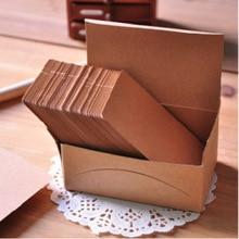 1 лот = 6 коробок(600 шт)! 100 шт./кор. цвет крафт-бумаги карты/картон сообщения/слово/визитная карточка/правый угол