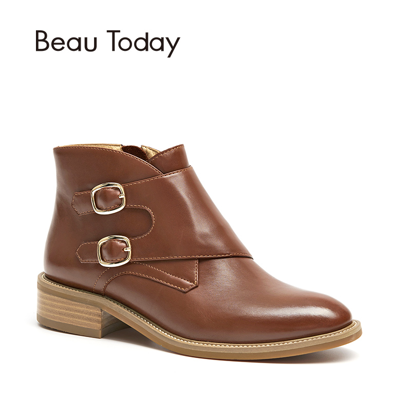 BeauToday Ankle Boots Women Buckles Top Brand Quality Genuine Cow Leather Zipper Closure Fashion Lady Shoes 03257BeauToday Ankle Boots Women Buckles Top Brand Quality Genuine Cow Leather Zipper Closure Fashion Lady Shoes 03257