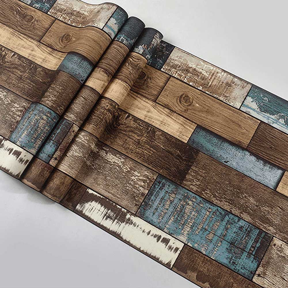 3CM×10M Wallpapers Retro Old Personality Wood Plank Wallpaper Bar Restaurant Clothing Store Cafe Background Wallpaper