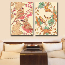 DIY colorings pictures by numbers with colors Vintage flowers and birds picture drawing painting  framed Home
